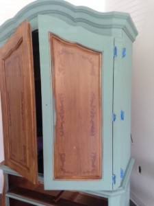 Abundance Paint Couture! first coat being painted on armoire. No priming, no sanding!