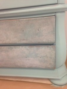Painted and glazed armoire drawers using Paint Couture! and Glaze Couture!