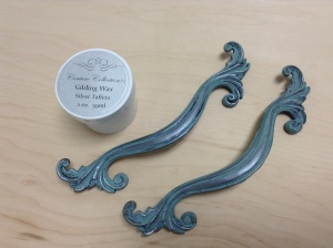Hardware is first painted with Abundance Paint Couture! Then Silver Taffeta Gilding Wax applied