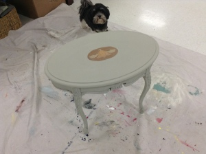 Painted Table with Peace Paint Couture