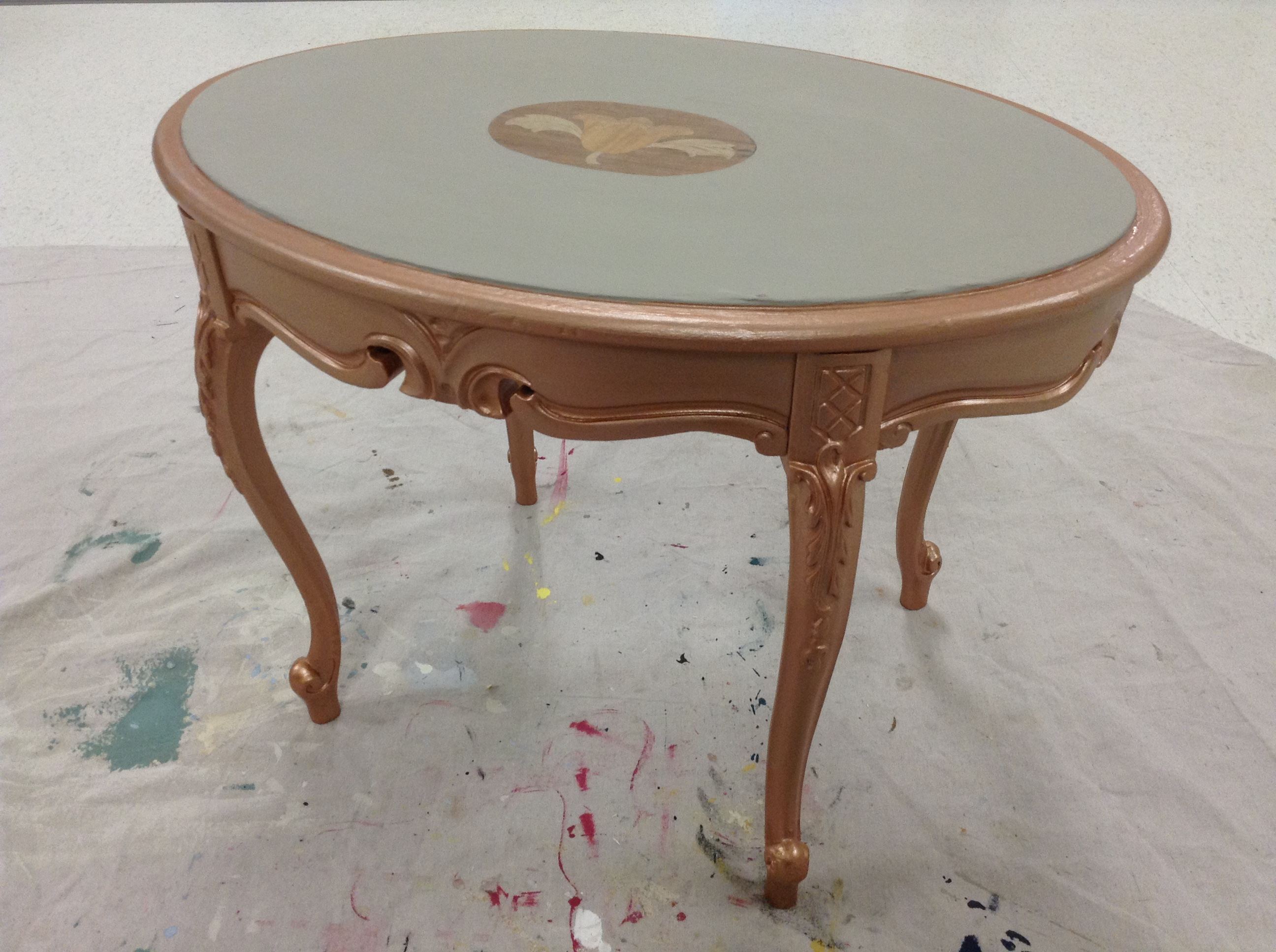 a gold metallic furniture paint