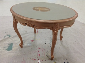Rose Gold Metallic Paint on the table