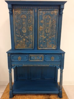 Lake Norman Blue Cabinet under painted with Pale Gold and glazed with Black Chiffon Glaze Couture