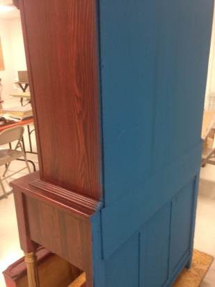 Lake Norman Blue on the back of the cabinet