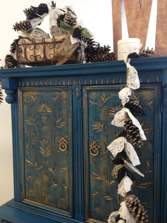 Lake Norman Blue Cabinet with Pale Gold and Black Chiffon Glaze Couture