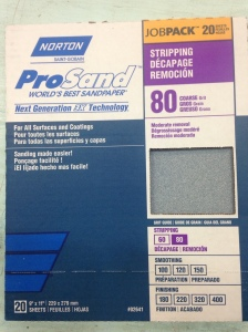 80 grit sandpaper is rough and used for removing old paint and polyurethane
