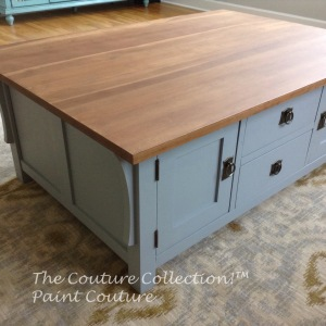Painted coffee table with British Grey Paint Couture, top with Light Brown Sugar Glaze and Dead Flat Couture Topcoat
