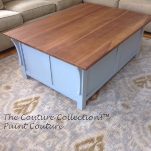 Completed Table with the Dead Flat Couture Topcoat over the Wood Top